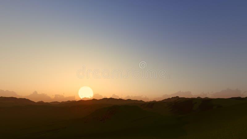 Sunset dawn clear sky 3D render.  stock photos