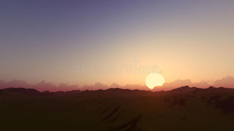 Sunset dawn clear sky 3D render.  royalty free stock photography
