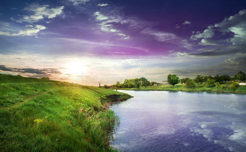 Download Sunset stock image. Image of green, spring, dawn, nature - 42444805