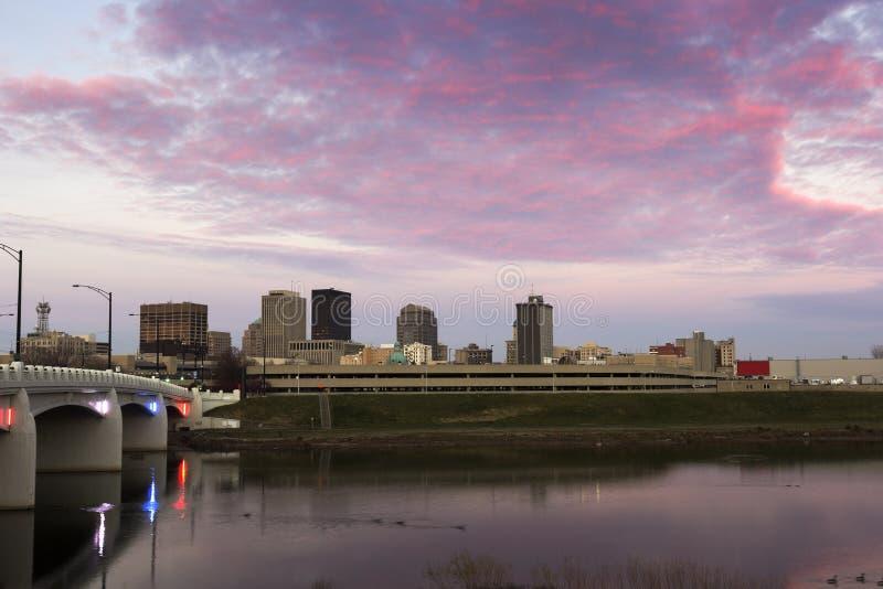 Sunset in Dayton. Sunset in downtown of Dayton, Ohio. Dayton, Ohio, USA stock photo