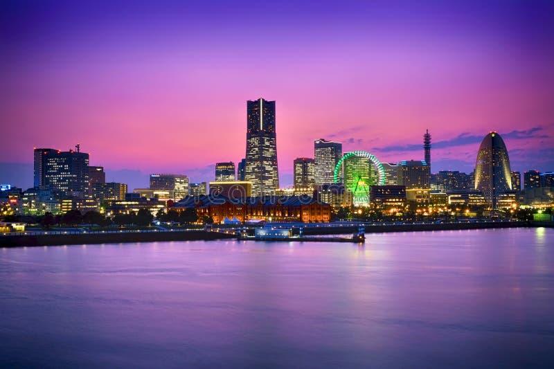 &Sunset de Yokohama photo stock