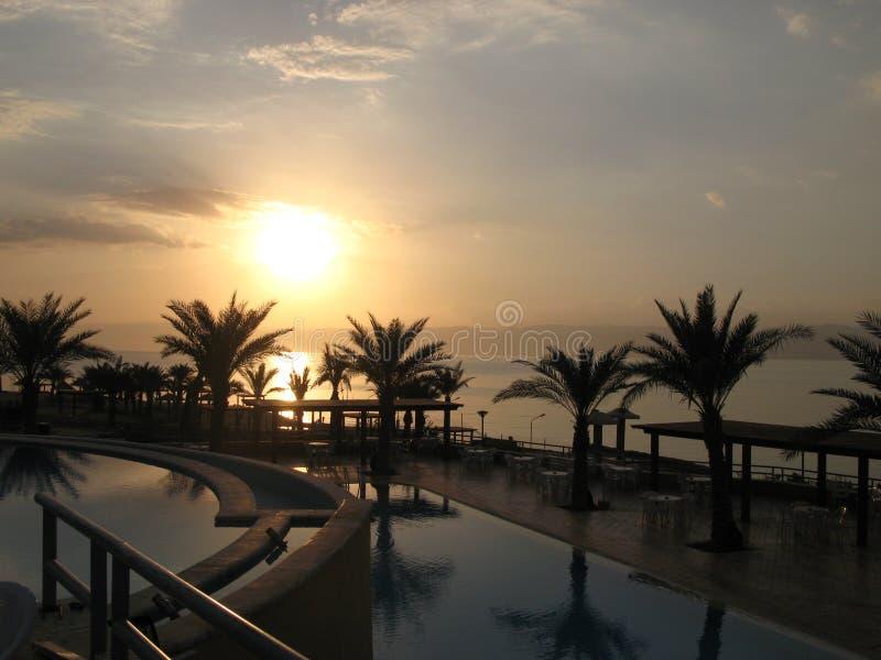 Sunset at Dead Sea, Jordan stock image