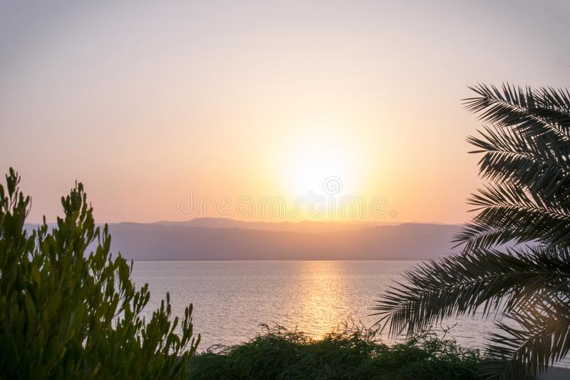 Sunset Dead Sea Jordan stock image