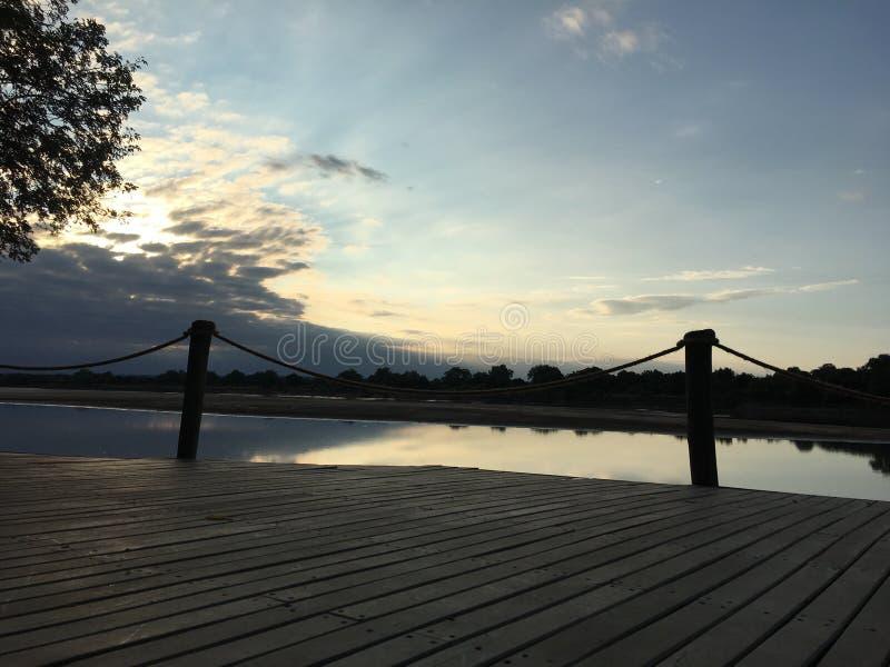 Sunset deck stock photo