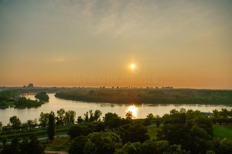Sunset at the delta of Danube river viewed fro  Kalemegdan fortress royalty free stock photos