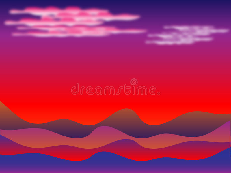 Sunset in desert vector illustration