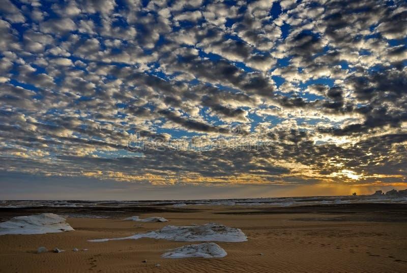 The sunset in a desert. The sunset in White desert, Sahara, Egypt royalty free stock photos