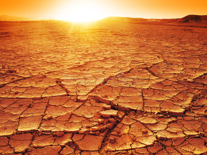 Sunset at a desert. Golden sunset at a desert. Dry and thirsty soil royalty free stock photos