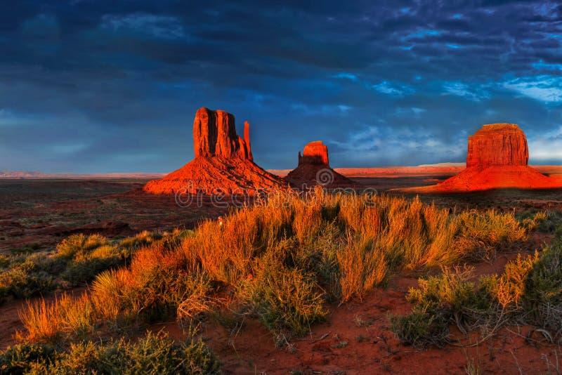 Sunset Desert Landscape, American Southwest. Monument Valley - Scenic desert landscape at sunset. American Southwest. Arizona Utah stock photos