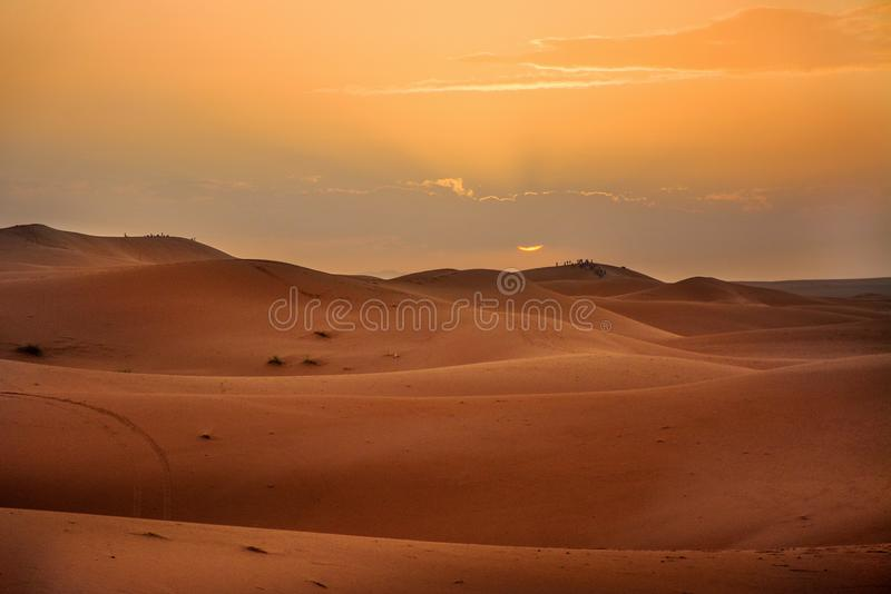 Sunset, Desert, the Western Sahara in Morocco. Africa. Desert, the Western Sahara in Morocco. Africa royalty free stock images