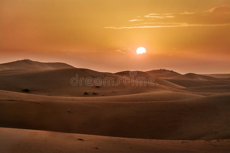 Sunset, Desert, the Western Sahara in Morocco. Africa. Desert, the Western Sahara in Morocco. Africa royalty free stock photo