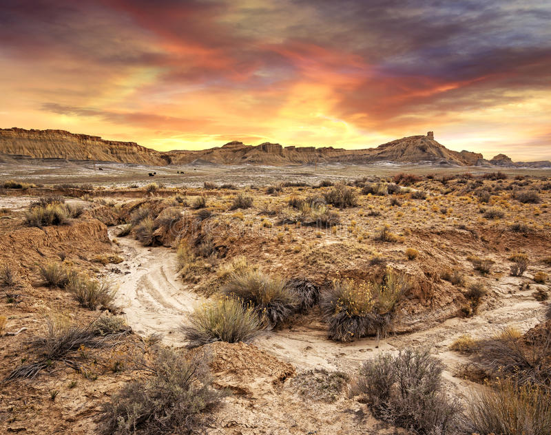 Sunset in a desolate landscape. Scenic view of sunset in a desolate landscape, Utah royalty free stock photo