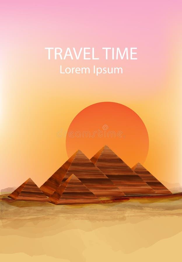 Sunset in the dessert Vector background. Hot summer sun over pyramids illustrations vector illustration