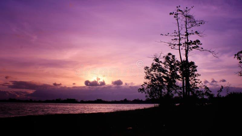 Sunset di waduk mulur royalty free stock photos