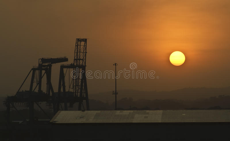 Sunset at the Docks, Panama royalty free stock images