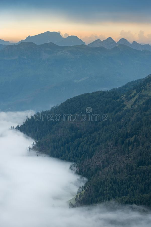 Sunset in Dolomites after Heavy Rain stock image