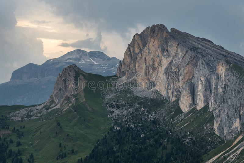 Sunset in Dolomites after Heavy Rain and Storm stock photo