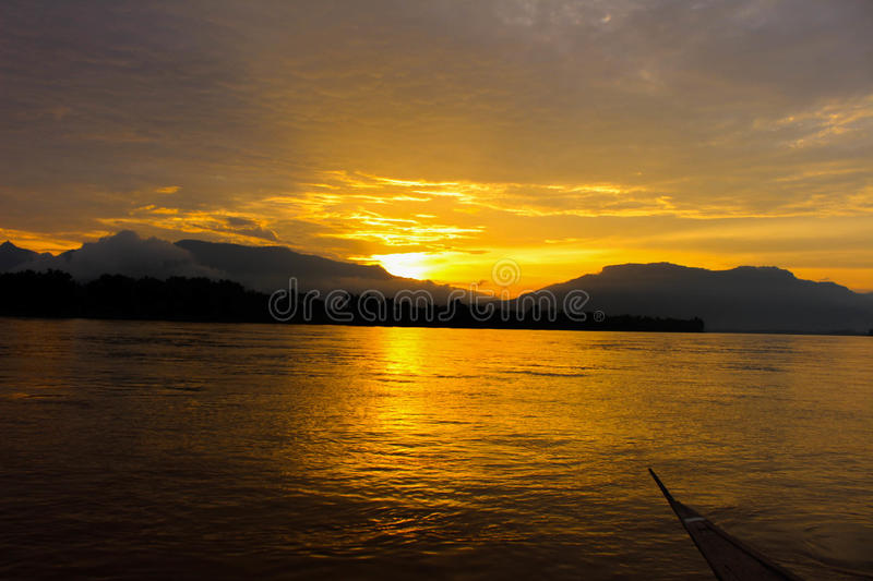 Sunset in Don deng Island royalty free stock images