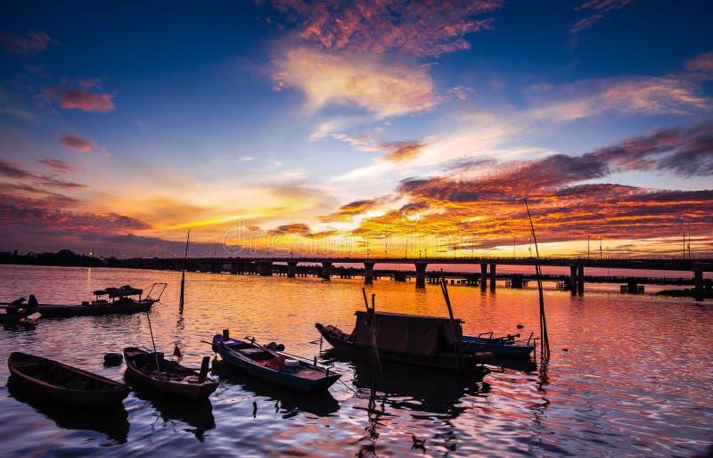 Sunset on Dong Nai river - Vietnam. Dong Nai River, also called Donnai River, Vietnamese Song Dong Nai, river rising in the central highlands Annamese royalty free stock photos