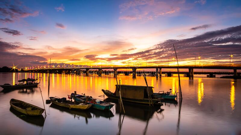 Sunset on Dong Nai river - Vietnam. Dong Nai River, also called Donnai River, Vietnamese Song Dong Nai, river rising in the central highlands Annamese stock images