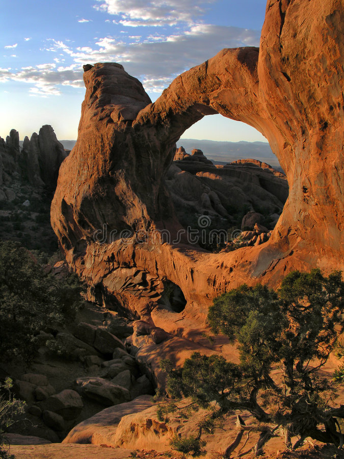 Sunset at double o arch. Arches national park in utah royalty free stock image