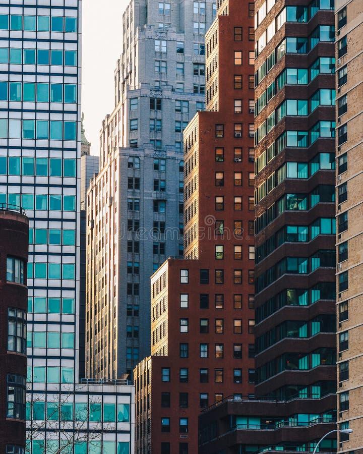 Sunset in Downtown Manhattan. Sunset reflecting on buildings in Downtown Manhattan stock photos