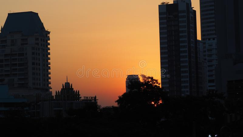 Sunset at downtown in Thailand royalty free stock photography