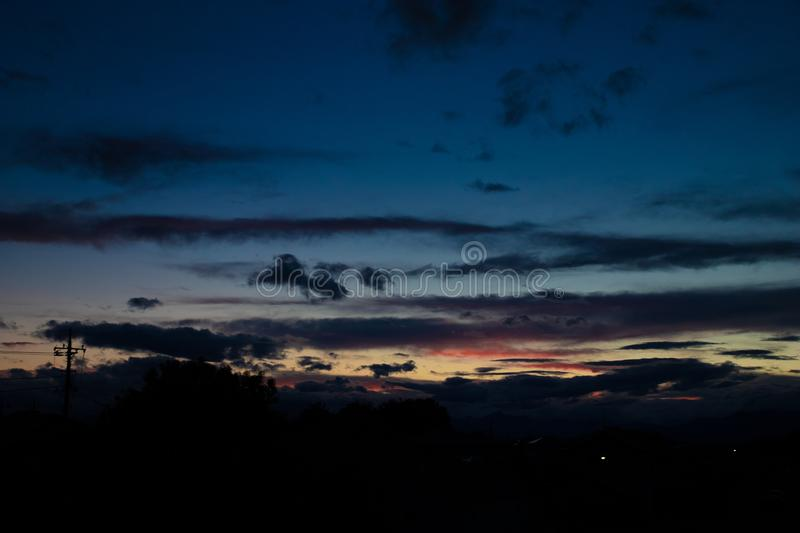 Sunset and Dramatic Clouds. Dramatic and beautiful Clouds in Late Afternoon, Honjo city, Japan royalty free stock photo