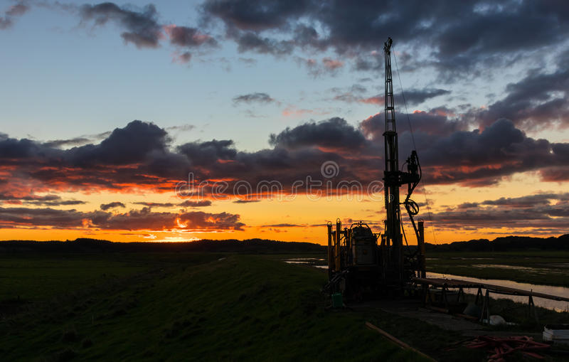 Download Sunset Drill Rig stock image. Image of portable, industrial - 91513549