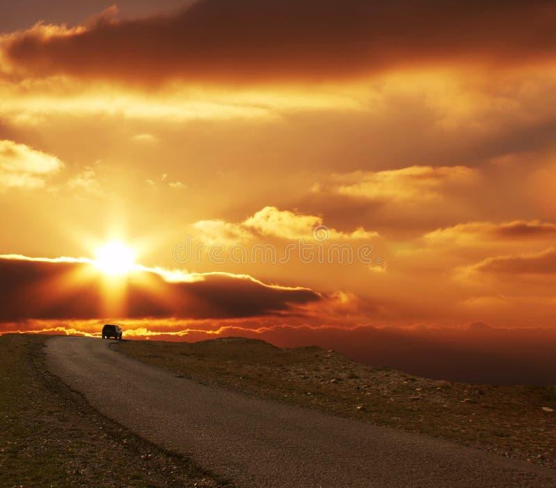 sunset drogowy obrazy royalty free
