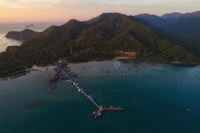 Sunset drone shot of lighthouse at Koh Chang ,Thailand stock images