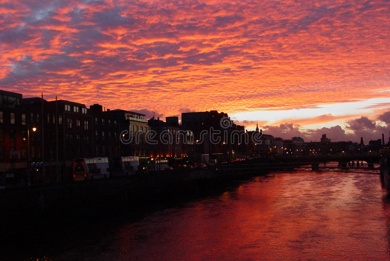 Sunset in Dublin royalty free stock photo