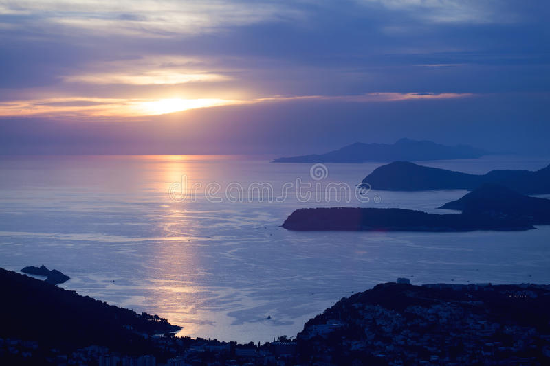 Sunset in Dubrovnik royalty free stock image