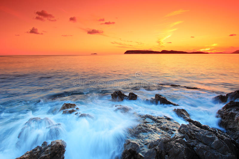 Sunset from Dubrovnik, Croatia royalty free stock photo