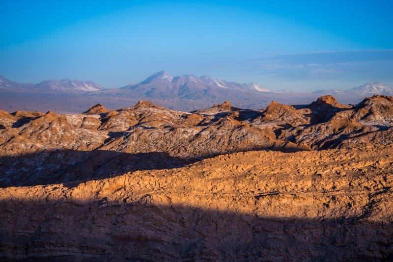 Sunset in the dunes in Moon Valley at San Pedro de Atacama, Atacama Desert. In Chile royalty free stock photography