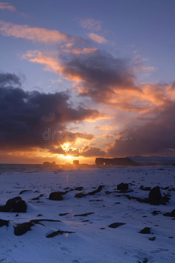 Sunset on Dyrholaey. Cliffs in South Iceland royalty free stock image