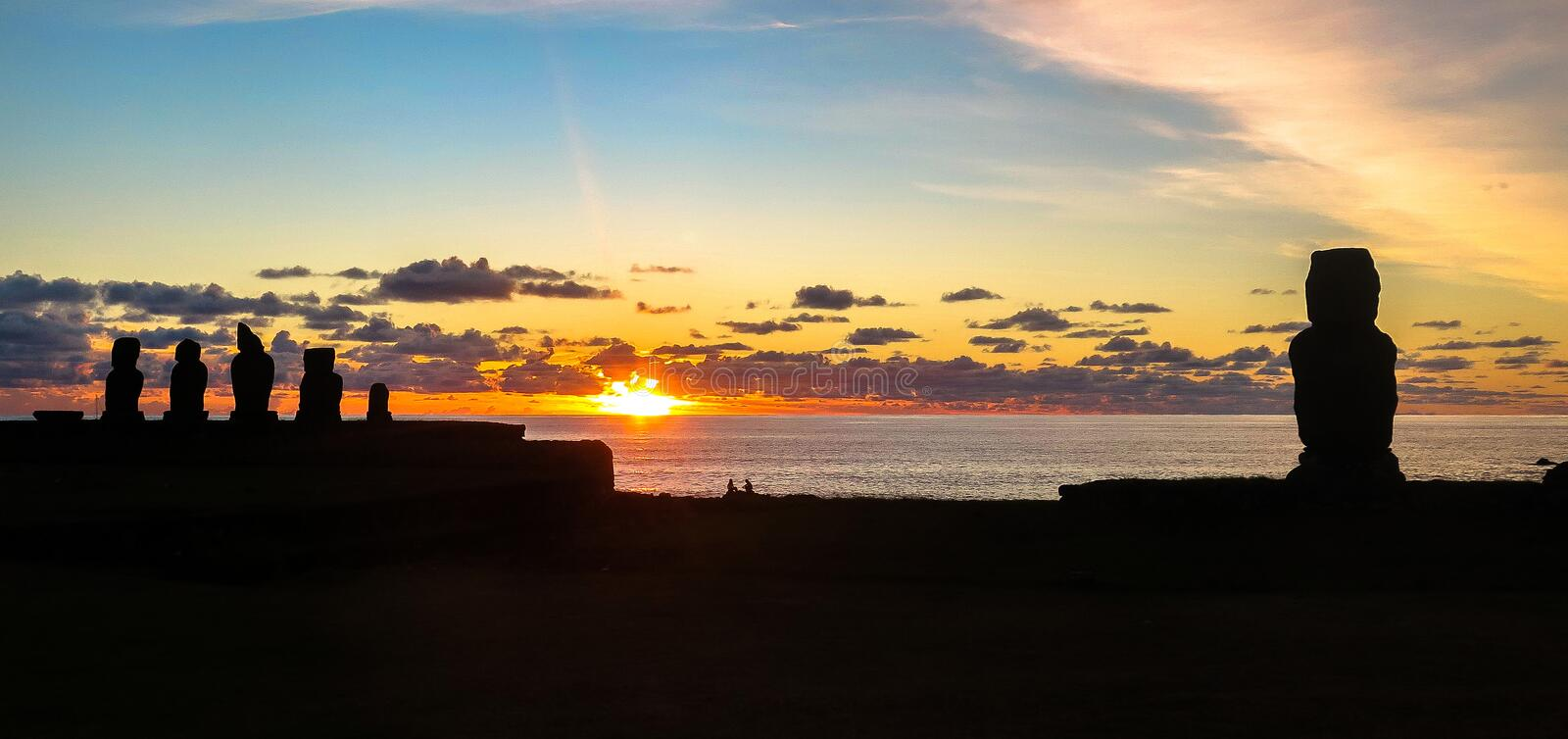 Sunset in Easter Island, Chile. This picture is taken in Rapa Nui, Chile. Easter Island Rapa Nui: Rapa Nui, Spanish: Isla de Pascua is a Chilean island in the stock photos