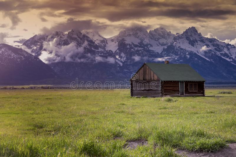 Sunset Effects over Famous old barn house in Grand Tetons National Park royalty free stock photo