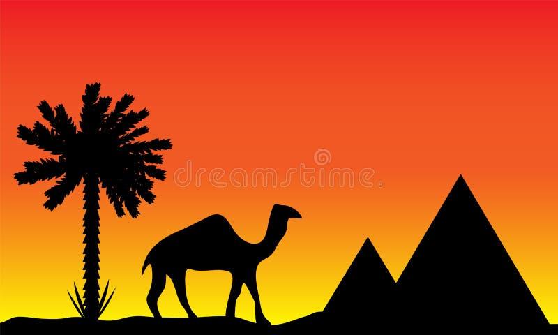Sunset in Egypt stock illustration