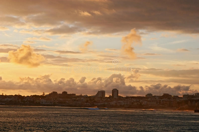 Sunset in Estoril, Portugal royalty free stock photos