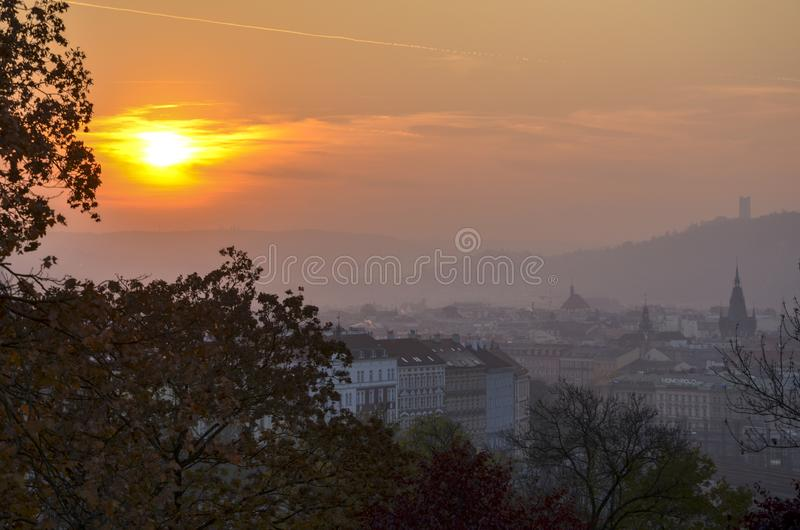 Sunset in Europe Prague. Beautiful sunset in heart of Europe - Czech Republic. Great view of Prague during an an autumn evening royalty free stock images