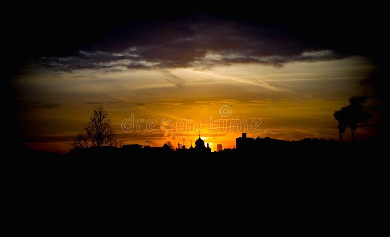 Sunset evening sun church stock images