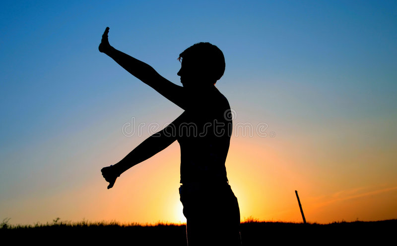 Sunset exercies royalty free stock images