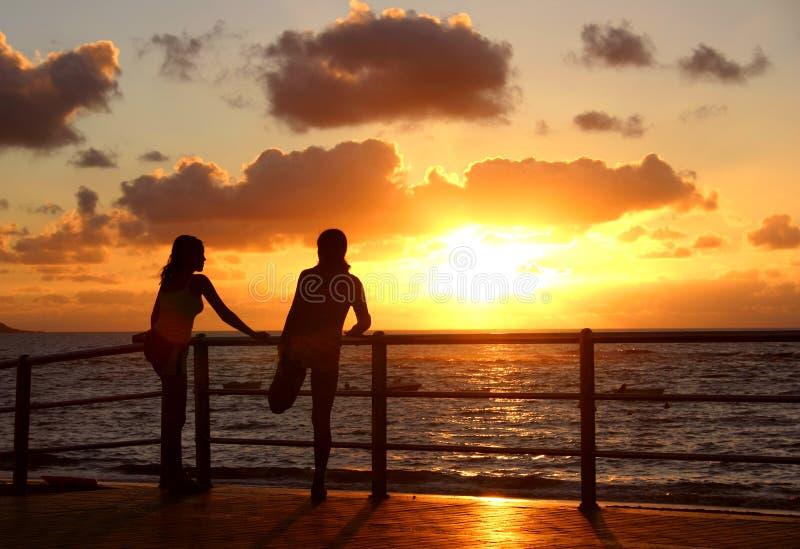Sunset Exercise royalty free stock photos