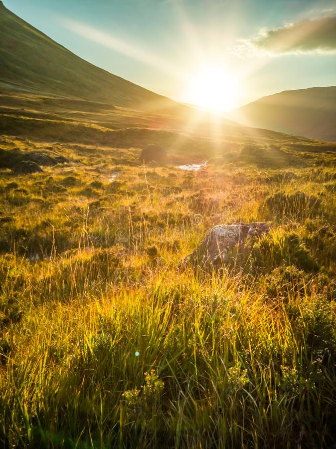 Sunset at the Fairy Pools in autumn, Glen Brittle, Skye, Scotland royalty free stock photography