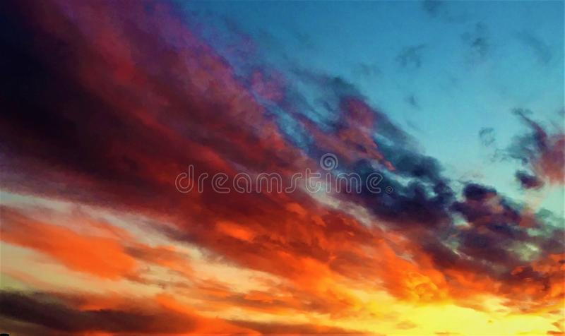 Sunset, fairytale sky and colours royalty free stock image