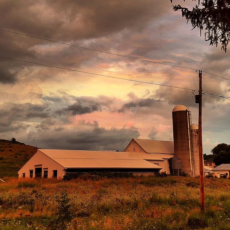 Sunset on the Farm stock photography
