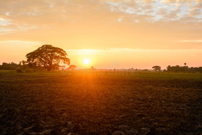landscape view of sunset on the farm at countryside royalty free stock photography
