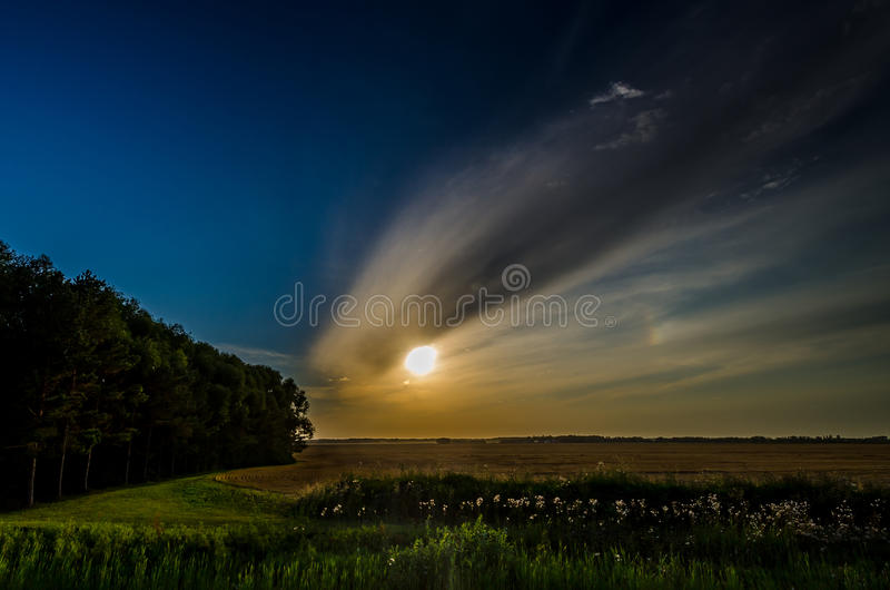 Sunset in the field. stock image
