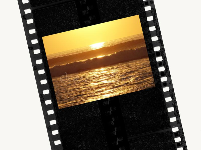 Sunset in film of 35mm stock photo